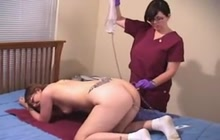 Horny brunette with strange fetish