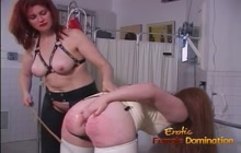 Slave in latex getting some whipping and anal enema