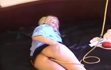 Kinky blonde doing enema